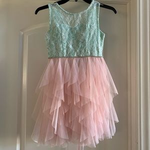 Rare Editions Pink & Mint Tulle Dress, size 8